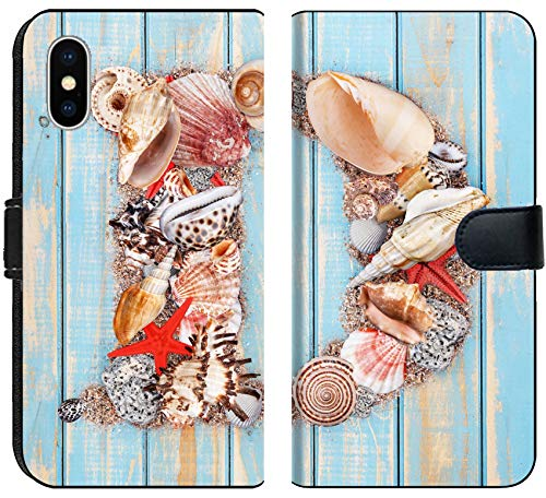694 Matte - Luxlady iPhone X Flip Fabric Wallet Case Letter D Made of Seashell on Blue Wooden Background Image ID 25480385