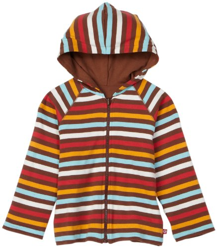 Zutano Little Boys' 5 Color Stripe Reversible Zip Hoodie,Chocolate/Orange/Aqua/Red,4T