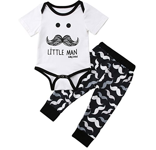 0154f928fe0 Amazon.com  Cute 3pcs Newborn Baby Boys Little Man Romper+Beard Pants+Hat  Outfits Set  Clothing