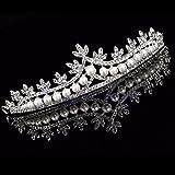 Bridal Princess Rhinestone Pearl Crystal Hair Tiara Wedding Veil Headband Crown