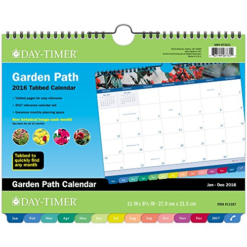 Day-Timer Monthly Wall Calendar 2016, 12 Months, Tabbed, 11 Inches  x 8.5 Inches, Wirebound, Garden Path (11357)