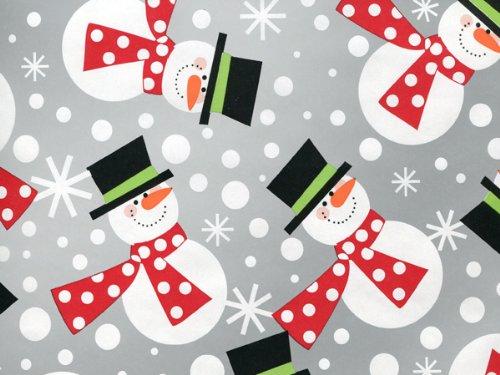 Metallic Silver POLKA DOT SNOWMEN Snowman Christmas Gift Wrap Wrapping Paper - 16ft - Silver Snowmen