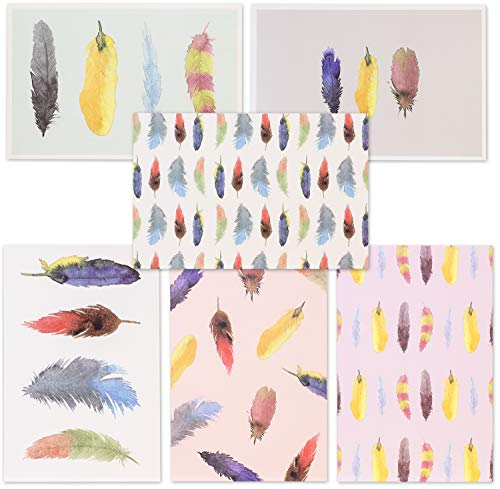 Best Paper Greetings 48-Pack All Occasion Watercolor Feather Blank Stationary Cards Bulk Box Set with Envelopes, 4 x 6 inches ()