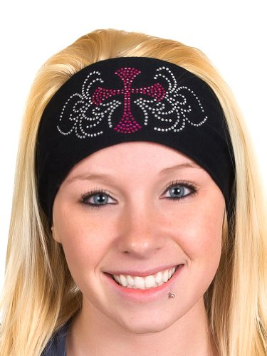 (Open Road Girl Head Wrap: Wide Headbands for Women: Biker Chick Headwear: Cross with Rhinestones (Fushia) )