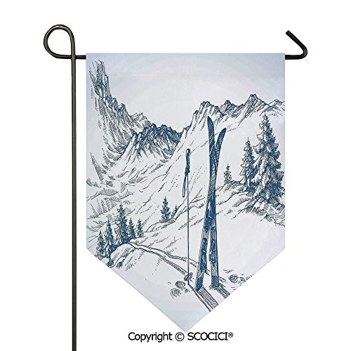 (SCOCICI Easy Clean Durable Charming 12x18.5in Garden Flag Sketchy Graphic of a Downhill with Ski Elements in Snow Relax Calm View,Blue White Double Sided Printed,Flag Pole NOT Included)