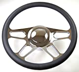 """Hot Rod 14"""" Chrome Billet """"4 Slot"""" Style Steering Wheel Package W/Leather Grip"""