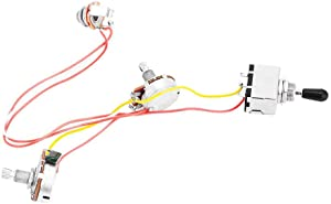 Guitar Wiring Harness Prewired 3 Way Chrome Box Toggle Switch 500K Pots for Electric Guitar with 2 Humbuckers