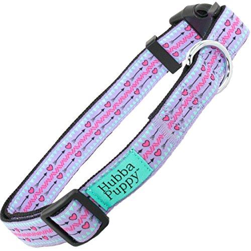 Hubba Puppy Hearts & Arrows Nylon Adjustable Dog Collar for S M L/XL Cute Designer Pet Collar, Small, Purple/Pink (Pink Hearts Dog Collar)