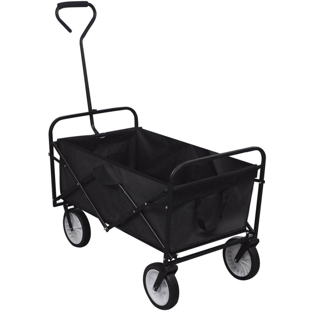 Festnight Black Foldable Garden Trolley