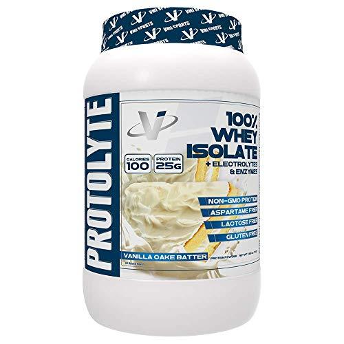 VMI Sports ProtoLyte 100 Whey Isolate Protein Powder Vanilla Cake Batter Zero Sugar with Added Electrolytes Enzymes 1.6lb