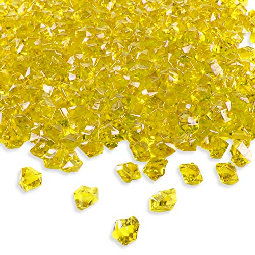 Super Z Outlet Acrylic Color Ice Rock Crystals Treasure Gems for Table Scatters, Vase Fillers, Event, Wedding, Birthday Decoration Favor, Arts & Crafts (385 Pieces) (Yellow) (Nickel Super Gem)