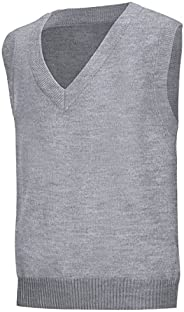 Classroom School Uniforms Men's Big and Tall Plus Size Adult Unisex V-Neck Sweater Vest, Heather Grey, XXX