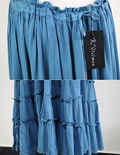 Summer R Cotton Vivimos Dresses Blackless Women Blue Light Sexy Long nnHPTq