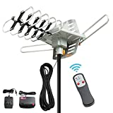digital antenna 150 mile range - ADDWel HDTV Antenna 150 Miles Long Range - Outdoor Amplified HD Digital TV Antenna, Motorized 360 Degree Rotation, Support 2 TV, 33FT Coax Cable, Wireless Remote Control
