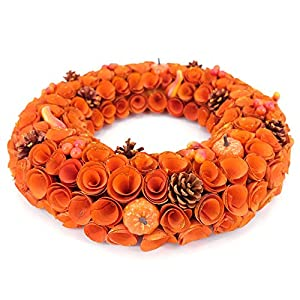 Idyllic 18'' Boxwood Round Wreath Yellow Orange Curled Roses Pumpkin Wreath for Front Door & Indoor, Home Décor for The Thanksgiving & Fall Season 2