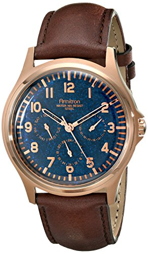 Armitron-Mens-204997NVRGBN-Multi-Function-Rose-Gold-Tone-Stainless-Steel-Watch-with-Brown-Leather-Strap
