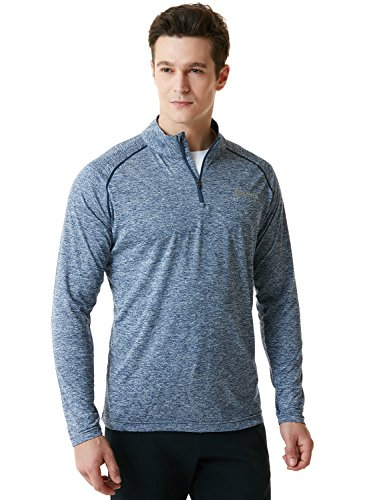 Tesla TM-MKZ02-SDN_Medium Men's 1/4 Zip Cool Dry Active Sporty Shirt MKZ02