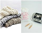 Loopy Mango DIY Knit Kit Nantucket Throw 28'' x 40'' (70cm x 100cm) (Ivory)