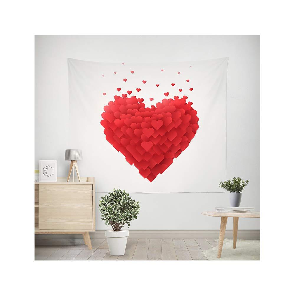 MIGUOR - Tapiz de Pared con diseño de árbol de San Valentín con Corazones en 3D, para Colgar en la Pared, para el hogar, Dormitorio, Sala de Estar, Universidad, decoración, Love, 150 x 130 cm
