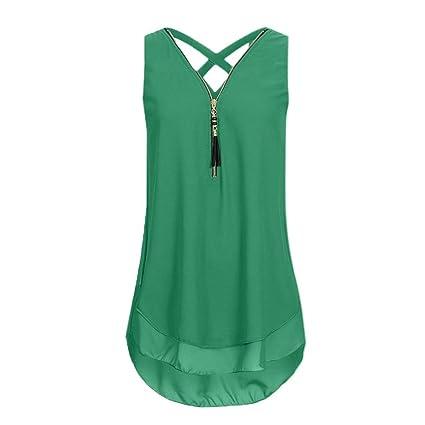 02fe0ff5eff1d Amazon.com  Lady Flower Print Cross Chiffon Vest Top