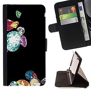 For Sony Xperia M4 Aqua Case , Diamantes Bling Negro Brillante Dinero- la tarjeta de Crédito Slots PU Funda de cuero Monedero caso cubierta de piel