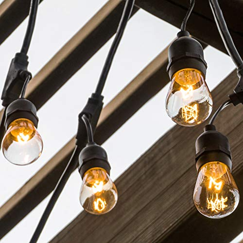 Amico 52FT Outdoor String Lights Commercial Grade Weatherproof Yard Lights, 11W Incandescent Bulbs, UL Listed Heavy-Duty Decorative Patio Bistro Market Café Lights by Amico (Image #1)