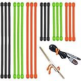 Lizber Rubber Twist Ties - Reusable Gear Ties 18PCS (3 Inch and 6 Inch) - Green, Orange, Black