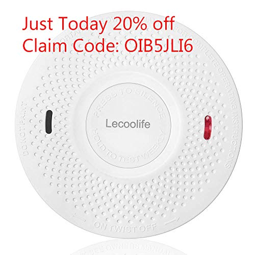 Combination Smoke Alarm and Carbon Monoxide Detector 10 Year Battery Operated for Home Bedroom Travel with Test Silence Button