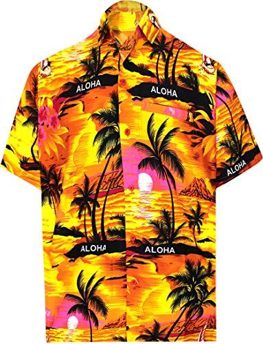 (LA LEELA Likre Soft Silk Printed Shirt Orange 290 2XL |Chest 54