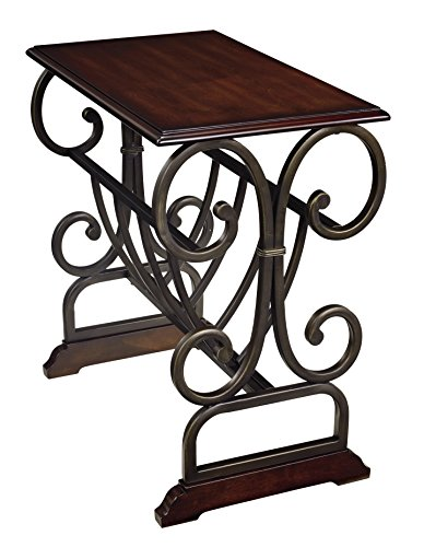 Ashley Furniture Signature Design   Braunsen Chairside End Table   Contemporary Metal With Bronze Color   Rectangular   Brown