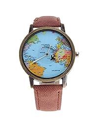 Reloj para Mujer Análogo Modelo Mini World Pop BlackMamut Caratula con Mapa de Mundo Avión Giratorio Incluye estuche Blister - Café