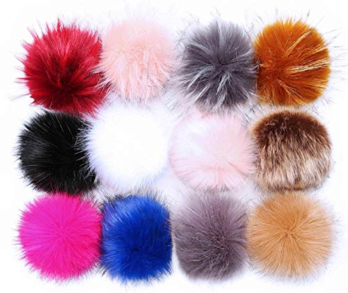 Pom Poms for Hats Bulk Pom Poms Faux Fur Pom Pom Balls for Hats Pompoms for Hats