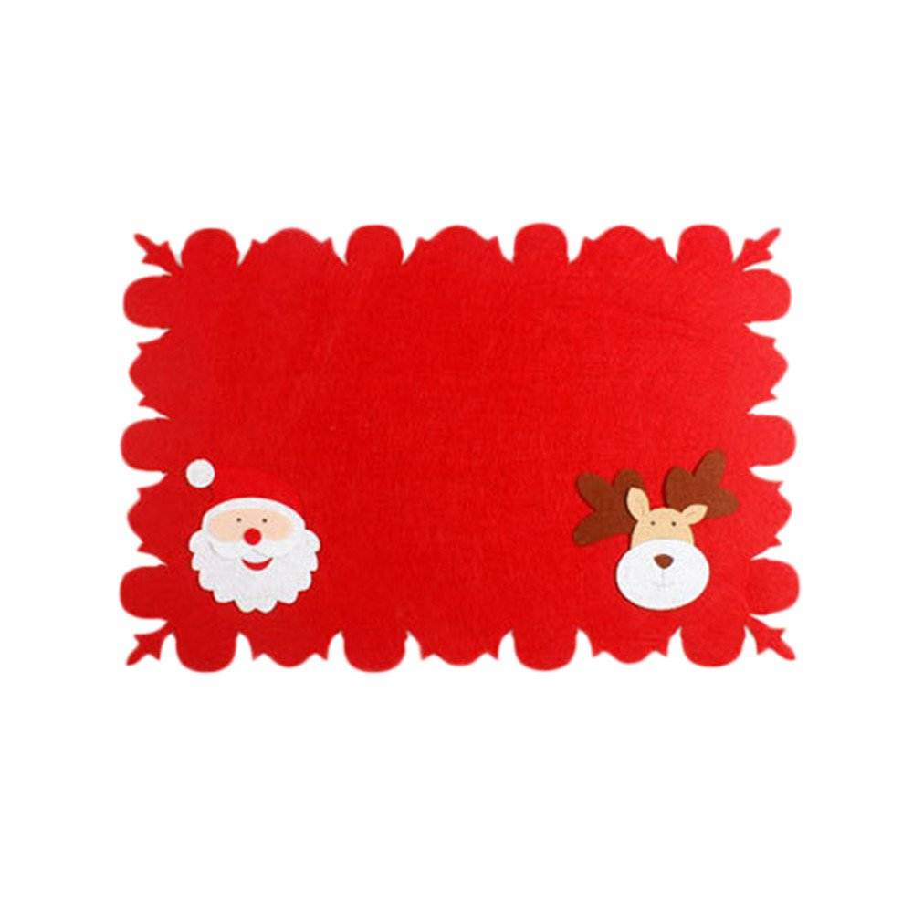 Christmas Placemat Christmas Theme Red Series Rectangular Placemats Waterproof Heat Resistant Table Mats 4630cm for Holidays Kitchen Dining Table Decor (A)