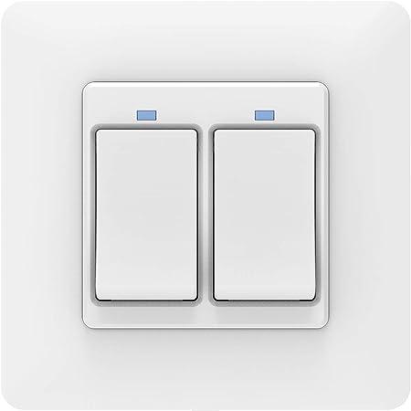 MoKo WiFi Interruptor Inteligente de Pared, WiFi 2 Vía Interruptor de Luz, Control Remoto/Voz, F...