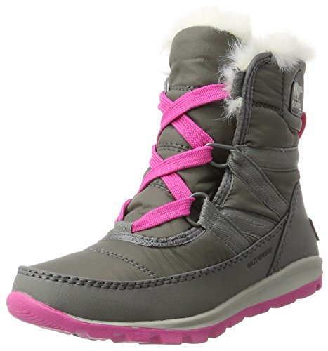 Sorel Youth Whitney Short Lace Boot Quarry/Pink Ice (4.5 Big Kid) by SOREL