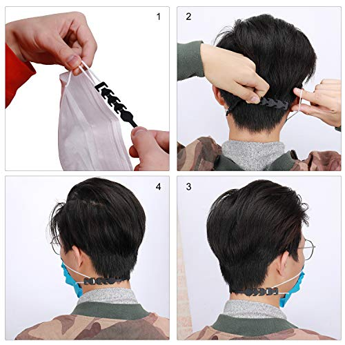 5pcs Black Face Mask Extender Strap,Adjustable Comfortable Mask Ear Saver To Relieve Discomfort and Pain In Your Ears,Ear Protector For Women Men Kids