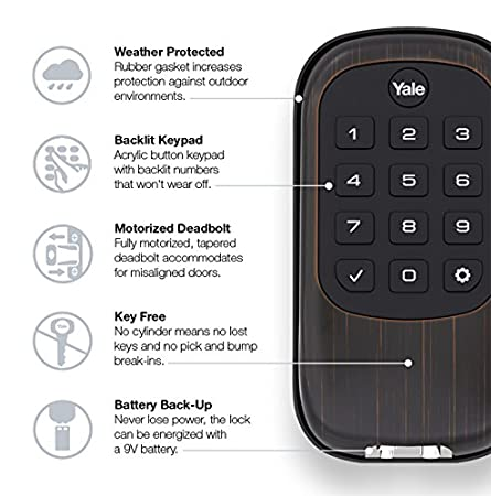 YALE SECURITY 84388 Real Living B1L Key Free Push Button Deadbolt in Oil Rubbed Bronze Standalone
