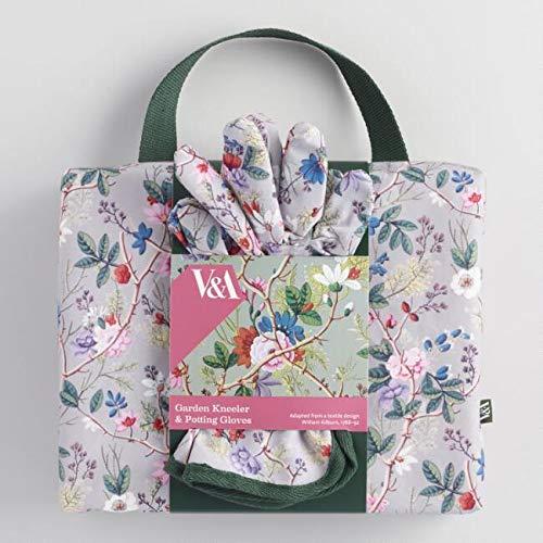 V&A Museum Gray Floral Kilburn Garden Gloves and Kneeler Set