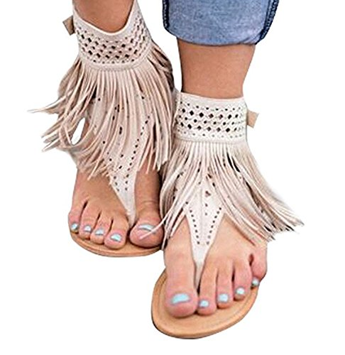 Fringe Shoes (Huiyuzhi Womens Suede Tassels Thong Flat Sandals Flip Flops Fringe Shoes (8 B(M) US, Ivory White))