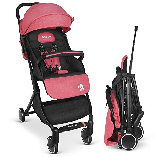 Sale!! Besrey Baby Stroller Pram Baby Carriage Baby Pushchair Suitable for Airplane - Pink