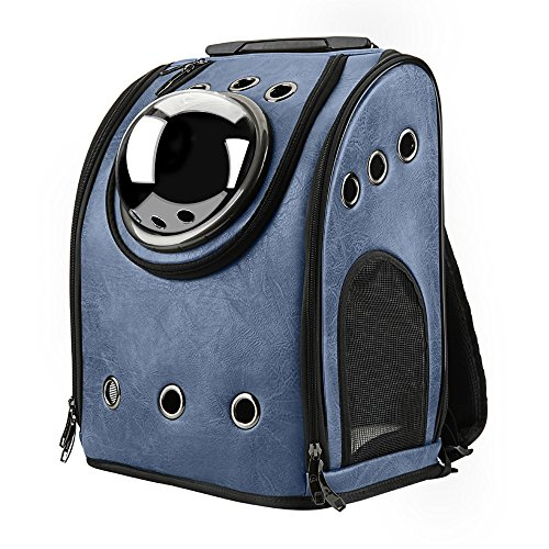 Texsens Innovative Traveler Bubble Backpack Pet Carriers Airline Travel Approved Carrier Switchable Mesh Panel for Cats and Dogs (One Size, Dark Blue)