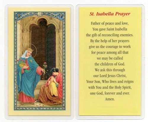 (Gifts by Lulee, LLC Saint Isabella of Portugal The Peacemaker Blessed Laminated Italian Holy Card with Gold Accents)