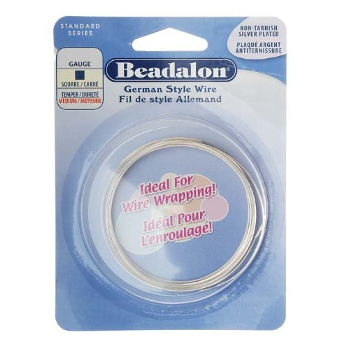 Beadalon Square Silver Plated 24-Gauge Wire, 4-Meters