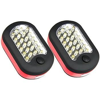 2 Pack 27-LED Ponvey Super Bright Led Work Light/ Portable Magnetic Flashlight with Hanging Hook