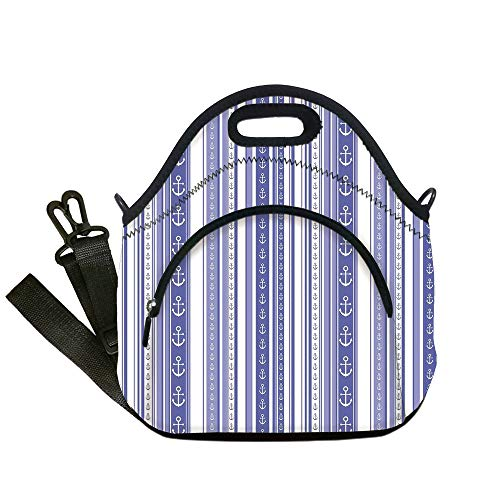 Insulated Lunch Bag,Neoprene Lunch Tote Bags,Striped Decor,Nautical Anchor Icons Tape Motifs Sea Life Contrast Strips Maritime Artwork,Lilac Purple,for Adults and ()