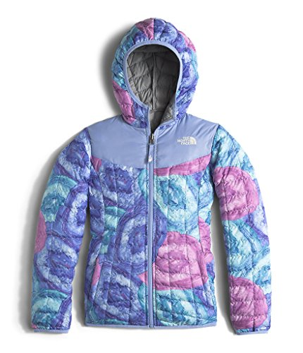 The North Face GIRLS' REVERSIBLE THERMOBALL HOODIE color: GRAPEMIST BLUE CRYSTAL PRINT size: XL