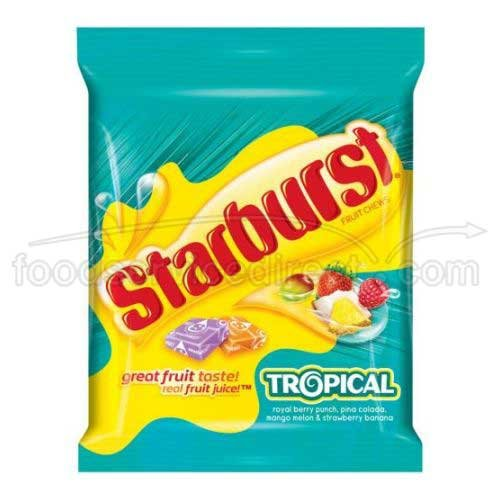 Starburst Tropical Fruit Chew Candy Peg Bag, 7.2 Ounce, 12 per case (Fruit Chews Starburst)