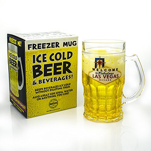 Mug Freezer 4 PACK Welcome to Las Vegas- Ice Cold Beer & Beverages 14 oz just fill it up and freeze! Highest Quality 14 oz Freezer Mug with Freezing Gel Mug Gift Boxed
