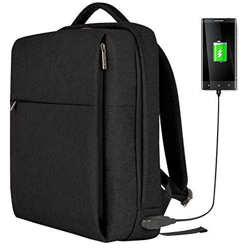 OSOCE Laptop Backpack Slim Business Backpack with USB Charging Port Men Women Water-Resistant Computer Rucksack Durable Lightweight Casual Daypack Fits 15.6 Inch Notebook for School/Work/Travel, Black