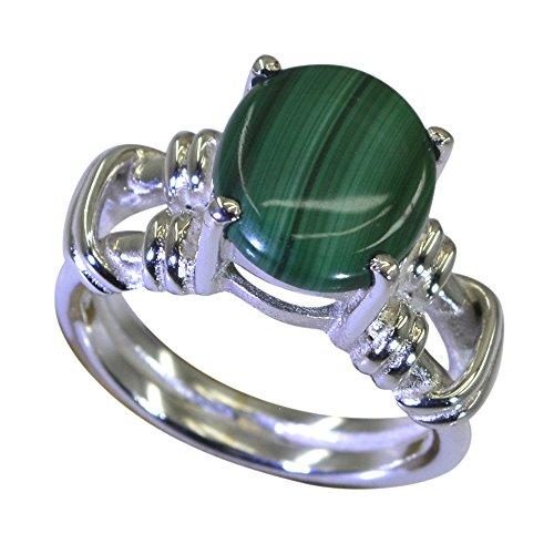Jewelryonclick Genuine Malachite 925 Sterling Silver Wedding Rings for Women In Size 4,5,6,7,8,9,10,11,12 ()